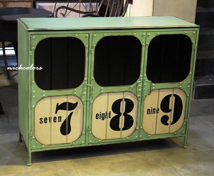 (停產中)~工業風做舊美式個性數字邊櫃(免運) 工業風書櫃鞋櫃 廚房邊櫃 服飾店展示櫃 門櫃 開門衣櫃 復古家俱