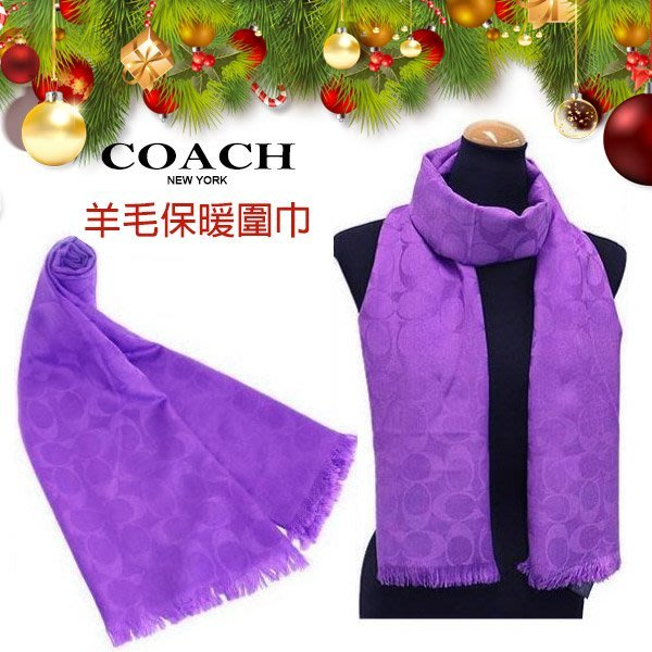 COACH 圍巾 紫色 C Logo羊毛混絲保暖流蘇 秋冬新款 聖誕節 附原廠紙盒