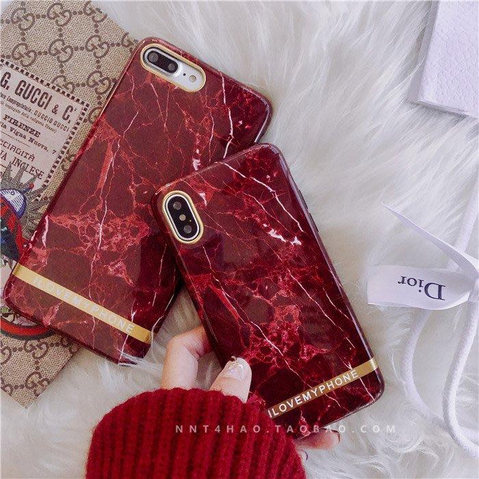 iPhone XS Max XR X 8 7 6S 6 plus 手機殼 酒紅復古文藝大理石紋 鏡頭保護 軟殼全包 防摔