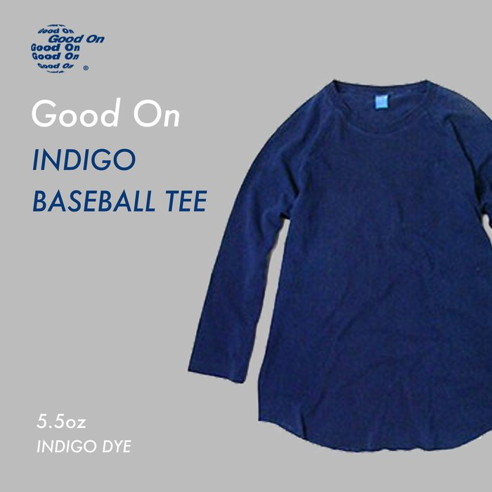 WaShiDa【GOLT-601I】Good On 日本品牌 藍染 5.5 oz 美國棉 素面 七分袖 棒球 斜肩 T恤