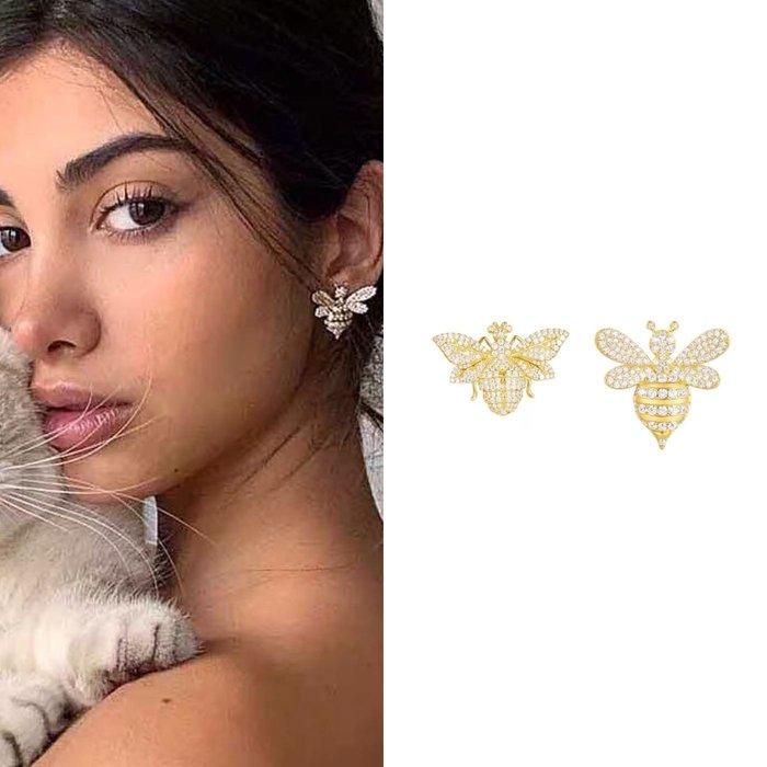 💎1616、森林翩蜂系列 亮眼金黃蜜蜂&黃蜂不對稱精品耳環💎 名牌精品 耳環 925純銀耳針 空運來台 輕奢珠寶 正韓飾品