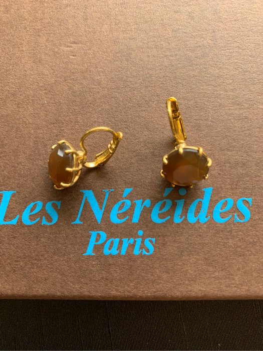 (漂亮2手)法國品牌 Les Nereides 星鑽系列 單顆 咖啡色 耳環