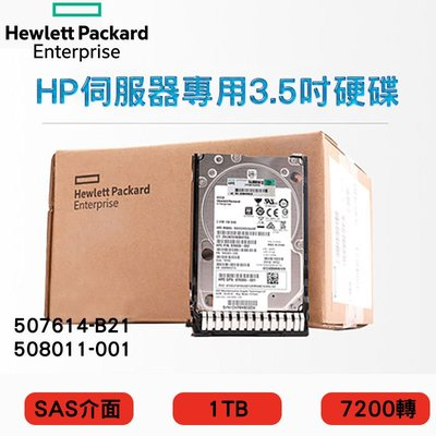 全新盒裝 HP 507614-B21 508011-001 1TB SAS 7.2K 3.5吋 G5-G7伺服器硬碟