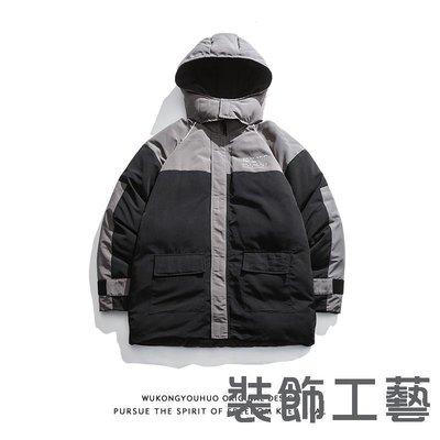 冬季復古拼色連帽工裝棉衣外套男潮牌寬松多口袋情侶棉襖