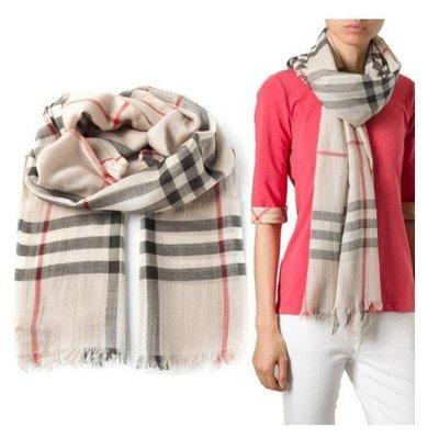 Burberry Check gauze 經典格紋薄款大型羊毛混絲圍巾 石頭色