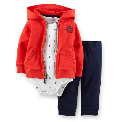 【Carters 卡特】Carter's 美國正品 連帽外套+包屁衣+長褲 男寶寶三件組套裝 USA美國精品時尚小舖