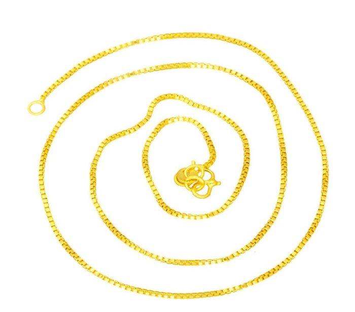 6號1003寬約1mm長44公分 歐幣24k鍍金盒子項鍊 男女通用細鏈子 沙金首飾
