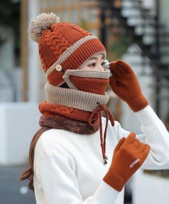 日和生活館 帽子女秋冬季日韓潮百搭針織騎車防風保暖圍巾手加絨毛線帽套裝女S686