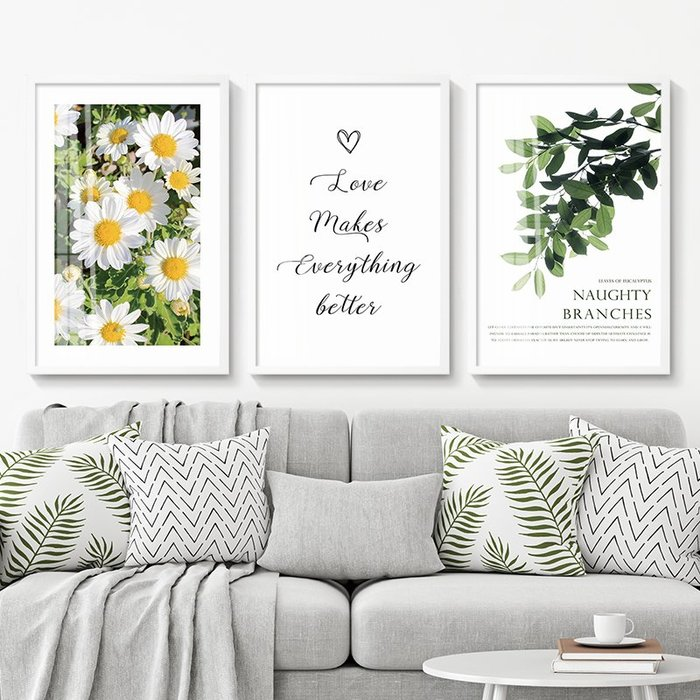 C - R - A - Z - Y - T - O - W - N 小清新貓咪花卉裝飾畫客廳沙發背景牆掛畫英文字玫瑰版畫