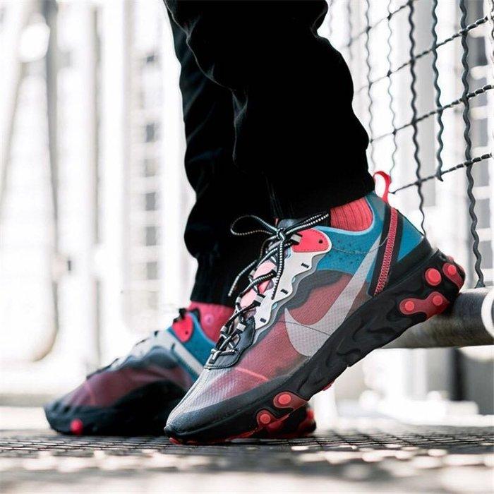 【Cheers】Nike React Element 87 AQ1090-006 桃紅 藍 半透 黑底 限量 男鞋