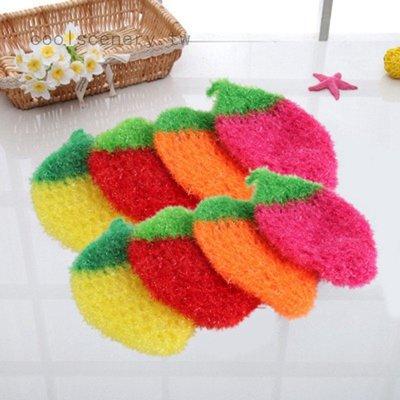 熱銷韓國創意 加厚不沾油 草莓造型洗碗巾 菜瓜布 洗碗布 絲光手勾 手工刮花 可掛 草莓 洗碗巾 柚子百貨