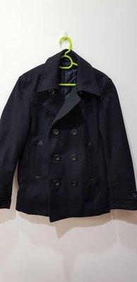 GU 黑色雙排扣羊毛外套 S