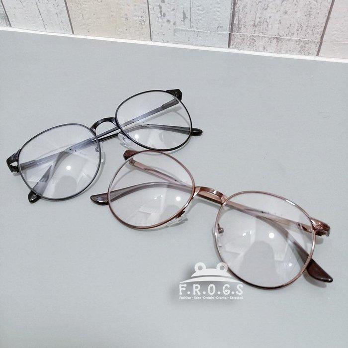 F.R.O.G.S E2027日韓氣質金屬圓框小雕花可佩度數造型素顏眼鏡男女同款平光眼鏡裝飾眼鏡無度數造型眼鏡(現+預)