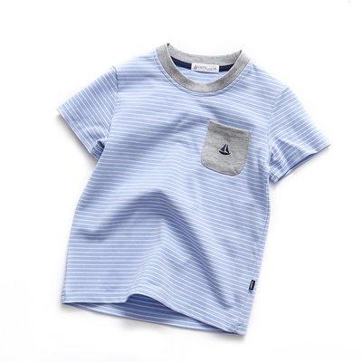 夏款兒童圓領短袖中大童純棉短袖條紋T恤男寶圓領海軍衫上衣