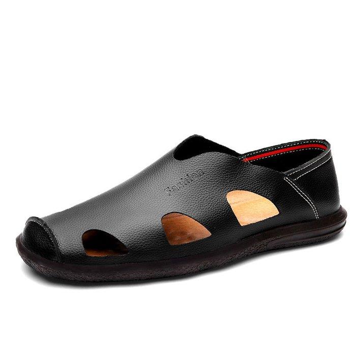 【熱門貨】新款皮涼鞋男夏季牛皮鏤空洞洞休閒鞋中老年爸爸鞋男士涼皮鞋沙灘
