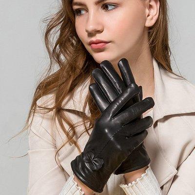 真皮手套羊皮手套-麥穗蝴蝶結純色修手女手套3色73wf4[獨家進口][米蘭精品]