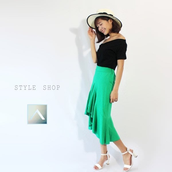 彈性舒適棉波浪魚尾裙【黑 ‧ 綠】 | ATORZ
