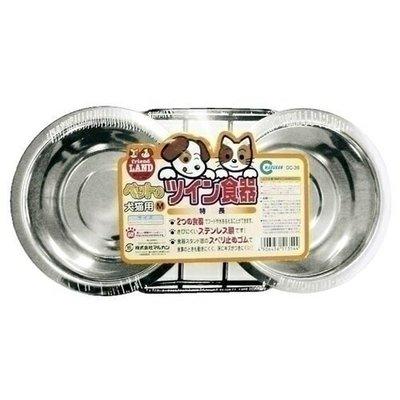 日本【Marukan】不鏽鋼雙碗(附支架) S  [DC-35]