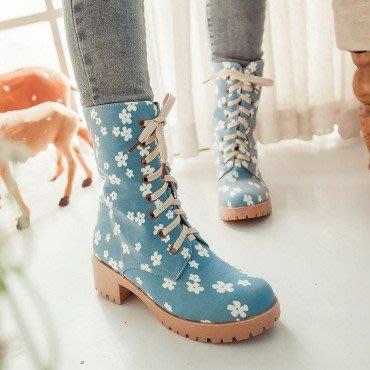 yes99buy加盟-인쇄印畫系帶防滑粗跟中筒女靴