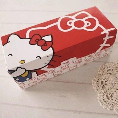 (含底托)紅色卡通貓咪長方形瑞士蛋糕捲包裝盒杯子蛋糕盒曲奇餅乾烘焙彌月結婚禮盒磅蛋糕水果條生乳卷凱蒂HelloKitty