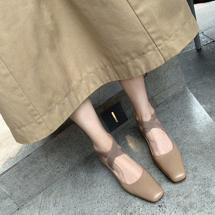 『Alice❤愛麗絲』復古芭蕾舞鞋交叉綁帶單鞋女白色平底鞋甜美仙女風方頭芭蕾鞋真皮