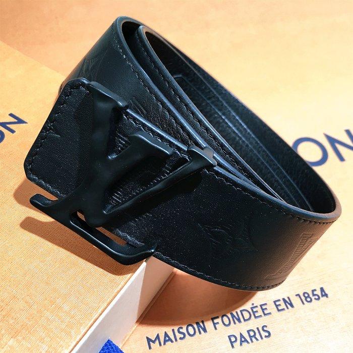 二手旗艦 LOUIS VUITTON LV M0220V 黑色 牛皮 壓紋 皮帶 85CM (公益店)02805