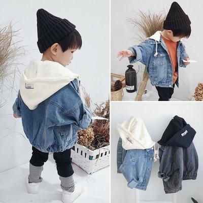 男童長版外套秋季童裝男女童日韓牛仔小童兒童寶寶連帽