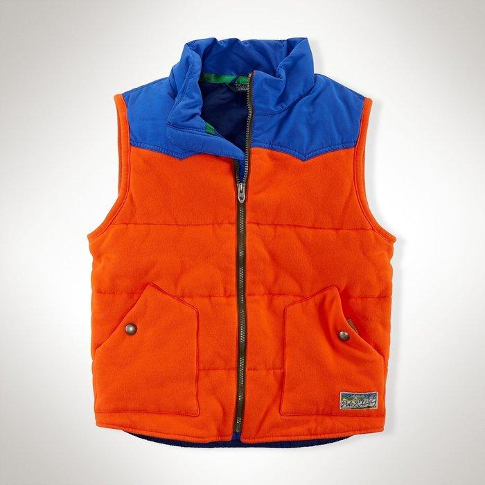 全新美國Polo Ralph Lauren橘藍拼色厚棉保暖拉鍊背心 7T, 大童M