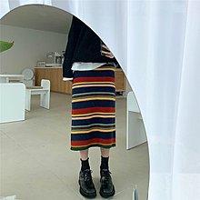 不拘束親膚毛線織長裙 彩色條紋直筒鬆緊腰針織長裙 艾爾莎【TAE8694】