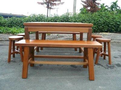 A026 {崙頂傳統原木家具行}~邊框實木桌配大板凳 椅頭仔  接受訂做.訂色 請先詢問