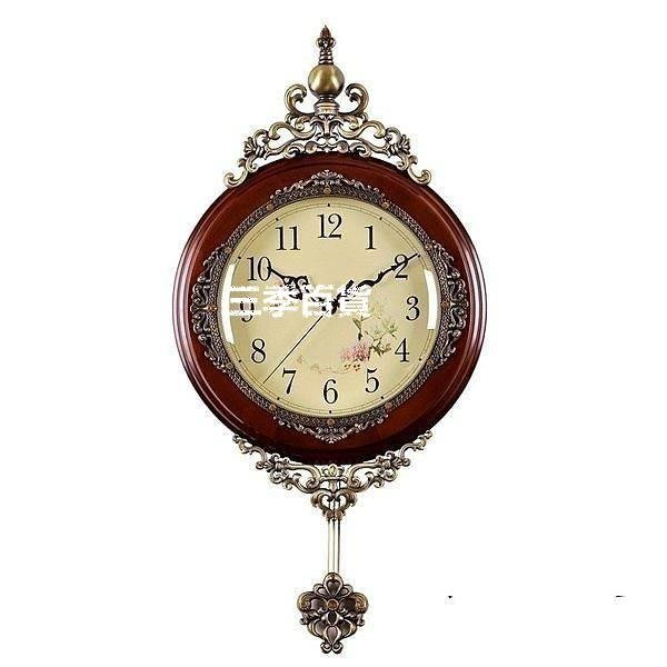 三季安納貝爾時鐘復古典歐式實木鐘表掛鐘客廳靜音創意墻壁裝飾石英鐘 純實木日本麗聲機芯❖744