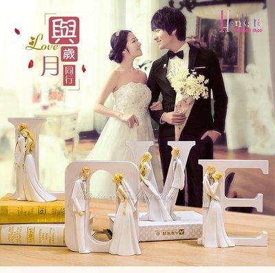 ☆[Hankaro]☆ 婚慶系列商品LOVE新郎新娘精緻浪漫婚禮人型擺飾新婚禮品