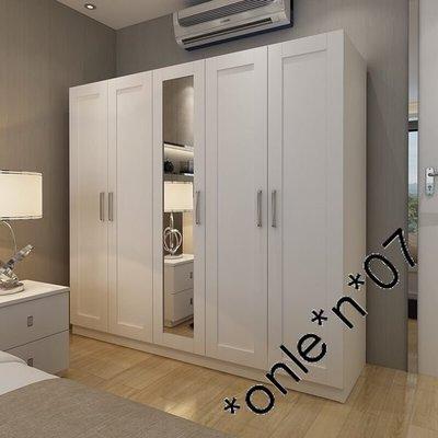衣櫃簡約現代經濟型板式簡易組裝宜家木質白色帶鏡櫃子5門大衣櫥
