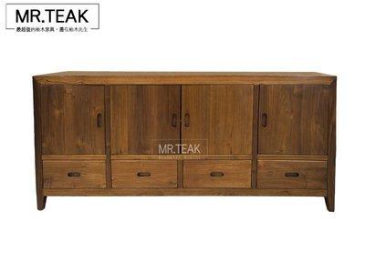 【柚木先生】印尼柚木  柚木四門餐櫃 多功能收納櫃 斗櫃 玄關櫃