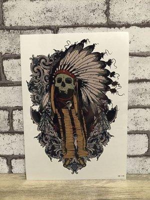 【萌古屋】印第安骷髏酋長手臂大圖 - 男女防水紋身貼紙刺青貼紙 HB-145