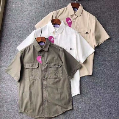 THE NORTH FACE 北臉 北面 男士工裝風襯衫 短袖 多口袋半袖襯衫 外套 日系紫標襯衫