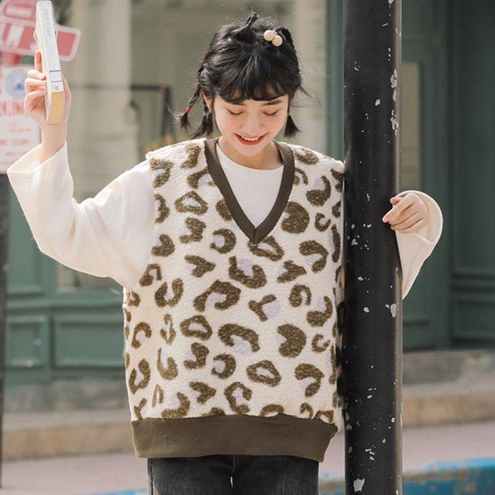 SeyeS  street雜誌英倫街頭個性復古寬鬆豹紋羊羔毛背心