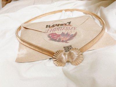 ?可小議 台灣設計師品牌 :EMPHASIZE 金色貝殼彈性伸縮腰帶 森系日系復古金色