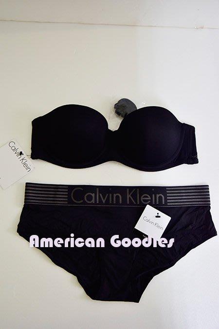 全新真品 CK Calvin Klein 黑色無肩帶胸罩34/75B+平口內褲S