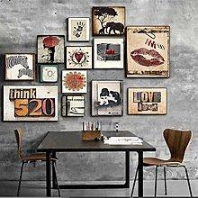 現代個性客廳裝飾畫餐廳裝飾牆畫書房壁畫love組合照片牆畫掛畫(13幅一組)