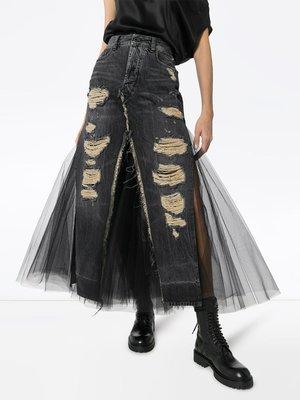 UNRAVEL PROJECT 仿舊牛仔布 拼接 薄紗 牛仔裙