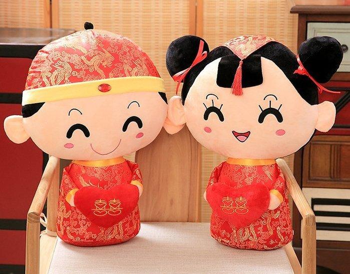 婚禮娃娃一對結婚慶禮物壓床金童玉女公仔玩偶創意婚床婚房(小)_☆找好物FINDGOODS☆