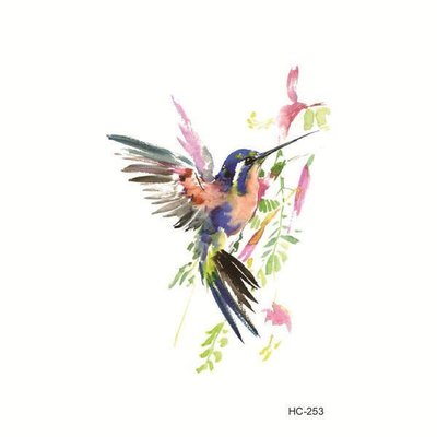 【萌古屋】Y系列彩色蜂鳥 - 男女防水紋身貼紙刺青貼紙K13