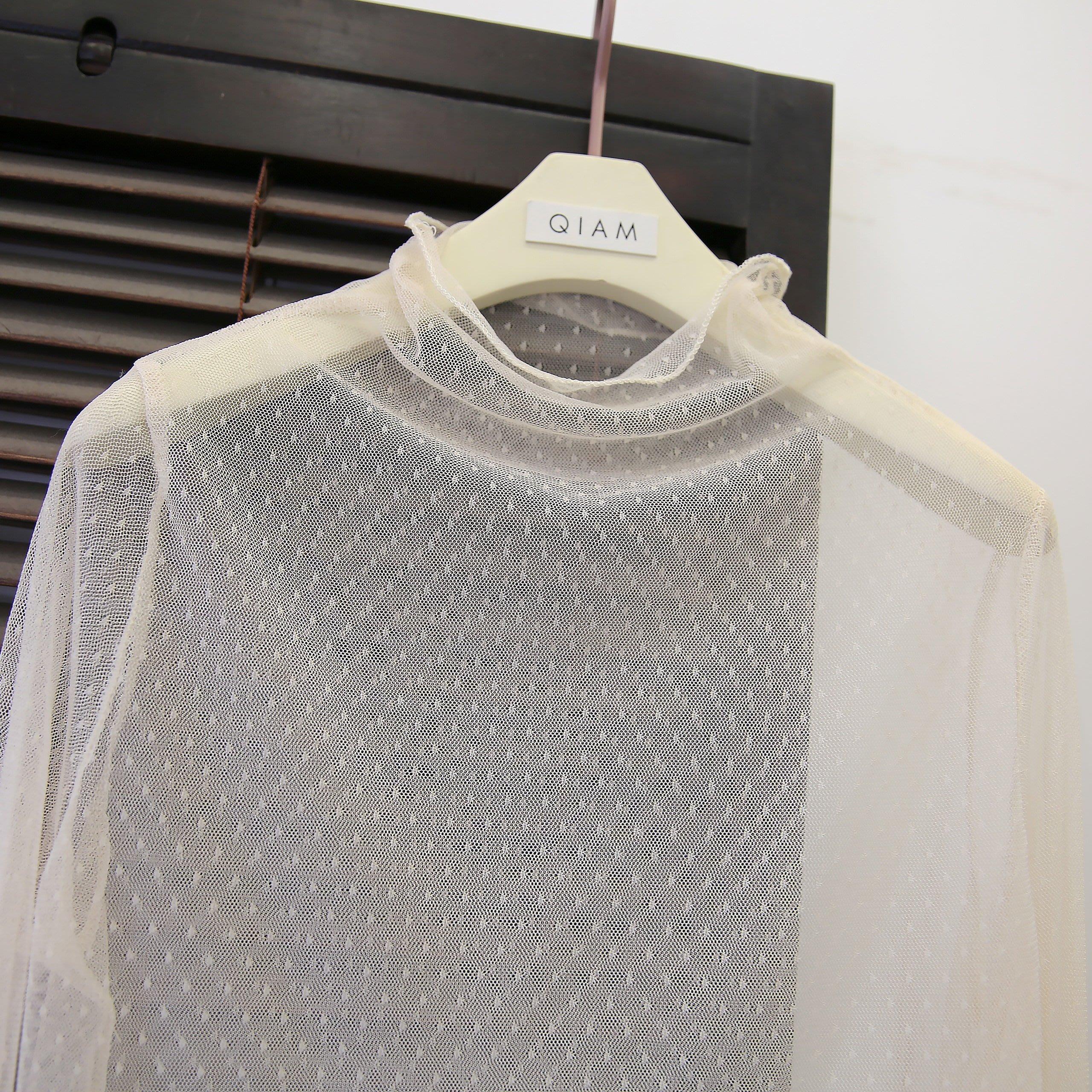 女裝上衣 內搭打底衫Rc冬季內搭精挑日系小水玉點親膚蕾絲網紗上衣打底衫神器女潮