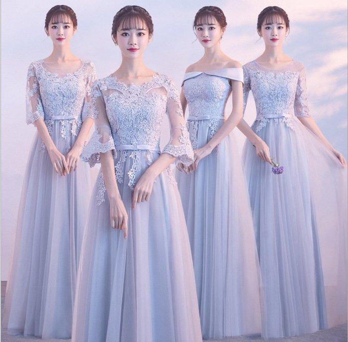 洋裝 伴娘服韓版灰色中袖伴娘團姐妹裙長款連身裙修身晚禮服女