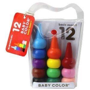 吧客司日本小站~現貨在台!日本製 無毒幼兒蠟筆 Baby color 寶寶 兒童手握蠟筆(共12色)