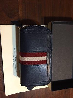 ╭☆包媽子店☆Bally TRIOT皮革經典條紋雙拉鏈鑰匙扣零錢包 ((深藍色))