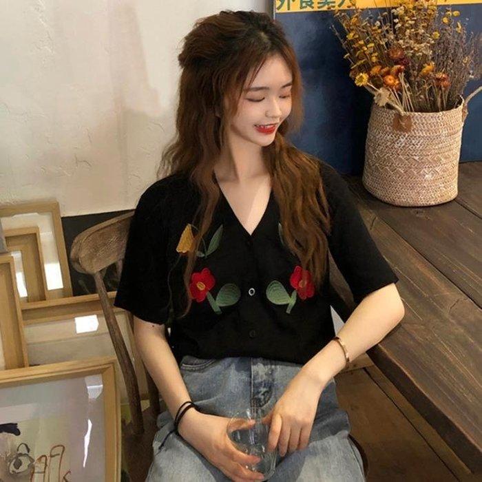夏季2019新款韓版寬鬆百搭V領刺繡薄款短袖開衫女學生打底T恤上衣
