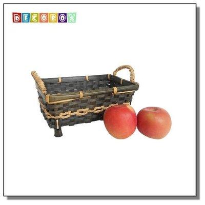 DecoBox清新鄉村風竹編小長方籃(2個)(紙簍.麵包籃、花盆、餐具籃、水果籃)