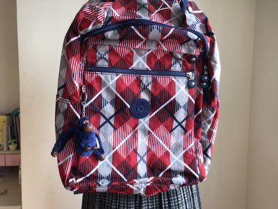 KipLing~藍條紅凌格~可掛行李箱超大後背包~買回家~還沒背出門~吊牌已拆